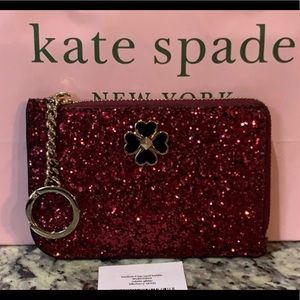 NWT Auth Kate Spade Medium glitter card holder